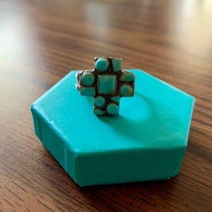Turquoise Stone Cross Ring